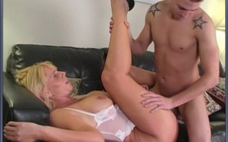 Blonde cougar with flopping titties gets nailed hard by young repairman.