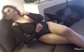 Tessa Fowler Looks Horny Touching Herself in a Couch