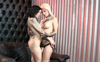 Naughty Jessie and Tori enjoy a strap on with Joanna watchin