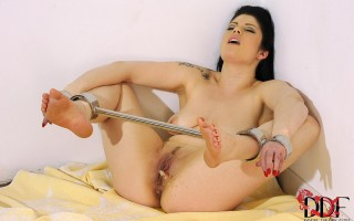 Lucia Love Bound In Metal Shackles & Pees All Over Herself