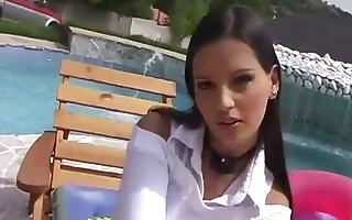 EVE ANGEL PLAYS WITH HERSELF BY THE POOL