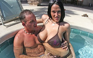 Today, we promised our boy CJ that we had a special guest coming over! CJ thought it was his birthday because he definitely didn\'t expect to see CARMELLA BING!!! So after getting those huge amazing boobies wet in the hot tub...CJ took this busty slut ins