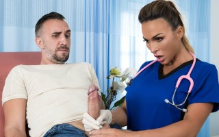 "Big boobed doctor Aubrey Black helps patient with ""backed-up"" problem"