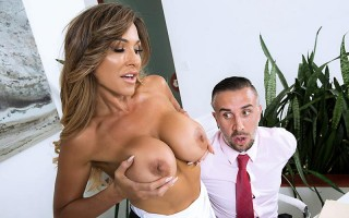 busty wife Aubrey Black fucks husbands employee