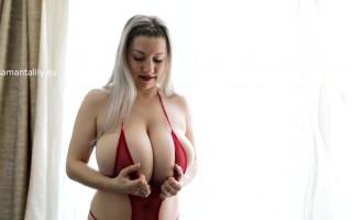 Samanta Lily teasing with her lactating huge tits