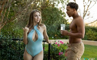 Busty ex Lena Paul tempts the hot gardener