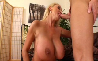 Blond MILF With Huge Tits Eats Young Guy's Ass