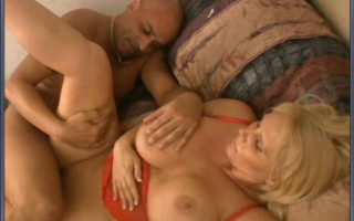 Blonde curvy MILF gets nailed from behind and big tittie groped.