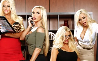 When Courtney Taylor, Nikki Benz, Nina Elle, and Summer Brielle come complaining to boss-man Keiran Lee about his asshole friend Buttler, it's got him in something of a tight spot. Buttler is always sexually harassing the busty blondes, and they've finall