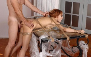 Leyla Black Bound In Plastic Gets Her Mouth & Asshole Used