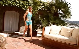 Hot blonde fucked poolside