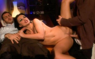 Hot Aletta is getting between two cocks in this glamour sex