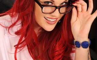 Busty Redhead Paige Delight Licks Her 38F's Pierced Nipple