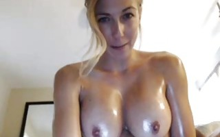 Oily Brunette Fucks Dildo On Cam