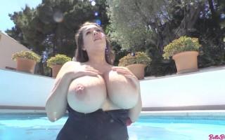 Bella Brewer big wet boobs bouncing while she slides down her black bikini