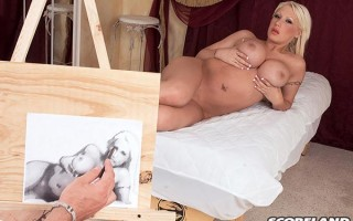 Busty blonde model Candy Manson teases artist
