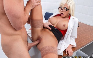 Dr. Six is assigned to the case of Johnny Sins, a man who believes every woman wants to fuck him. She tries to remain professional during their session, but pretty soon she finds out it's not all in his head after all! She begs for his cock to fuck her we