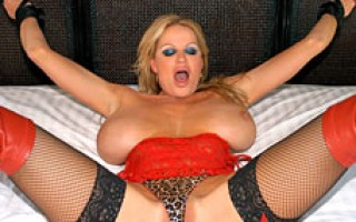 Kelly gets all tied up in red thigh high boots and leopard underwear then gets fucked.