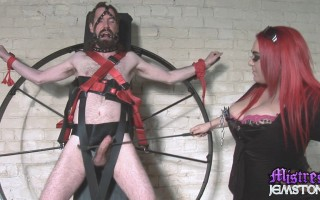 Mistress Jemstone humiliates crazy sub by torturing his cock