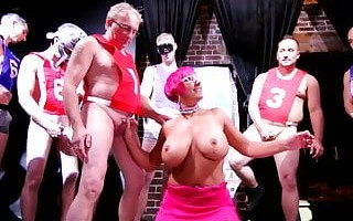 Blow Me POV -A Nasty Milf with Giant Tits and 11 Guys in Hug