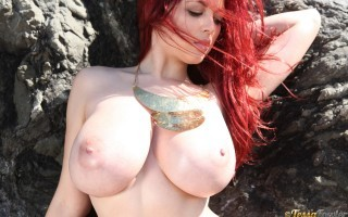Tessa Fowler in a Topless Gold at the Beach
