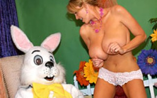 Kelly celebrates Easter with a bunny cock hunt she finds it in her mouth and in her tight pussy.