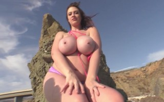 Lana Kendrick Charming On The Rocks With Her Big Titties