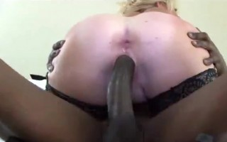 Huge fake tit MILF shoves giant black cock deep down her throat while I spit and gags on it.