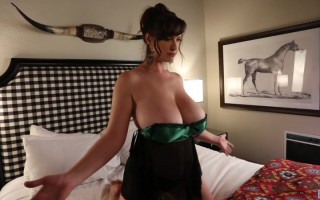 Lana Kendrick So Seductive Wearing Her Green Satin Lingerie