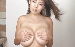 Natural huge boobs asian in bikini