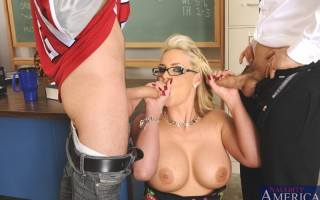 Gorgeous busty Phoenix Marie takes on two cocks in double penetration lesson.