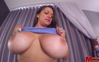 Monica Huge Titties Squeeze Out in Her Tiny Tight Lace Top