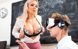 Nina Elle catches student with VR porn and fucks him in reality
