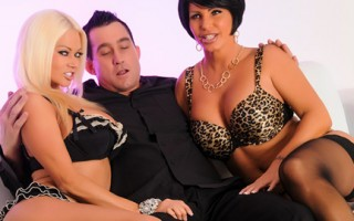Three-way fun with two hot Milfs and one dick