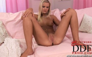 Cute blonde Cameron D. showing her pink pussy and teasing