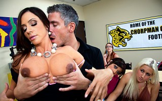 Professor Ariella has a private conversation with the females of the class to discuss sexual education. She enlists the help of Mick for some hands-on-tits demonstration and succeeds in showing her students the importance of the ORGASM... over and over an