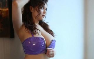 Tessa Fowler in purple vinyl lingerie