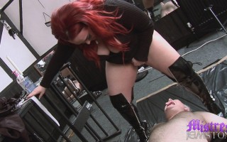 Mistress Jemstone whipping and pissing on chubby sub Charlie
