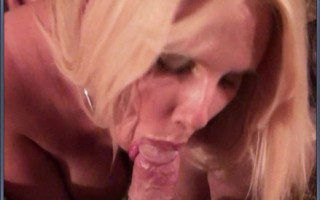 Slutty blonde with big boobs gets titty fucked by sleeping friends husband.