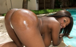 Busty black girl Janet Jade in bikini shower